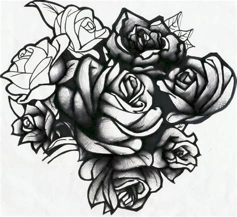 cluster of roses tattoo roses are black by evilrj on deviantart