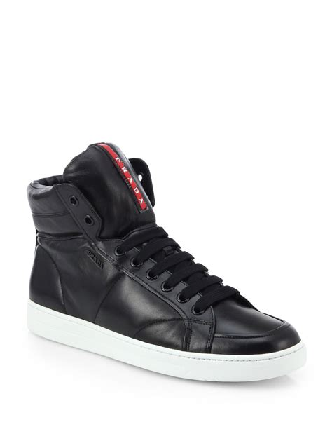 high top shoes for lyst prada leather high top sneakers in black for