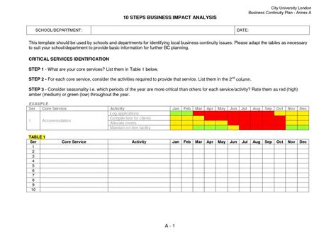 business impact analysis template template business