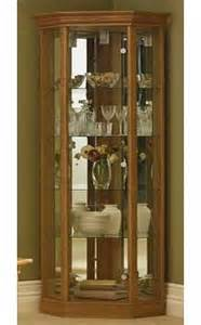 Corner Glass Display Cabinet Beech Effect Corner Display Cabinets