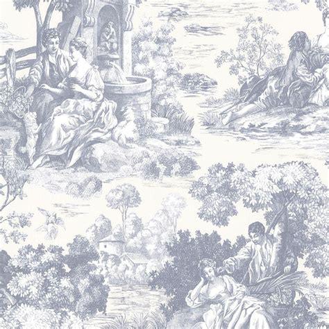 wallpaper toile blue brewster benvolio blue toile wallpaper 2686 21513 the