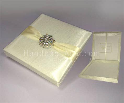 wedding invitations in box luxury ivory silk wedding invitation box with large brooch