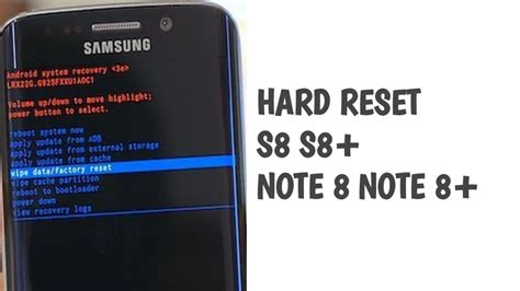 reset samsung without password hard reset samsung galaxy s8 s8 and note 8 youtube