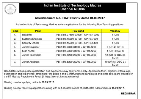 Application For Mba In Madras 2017 by Iit Madras Notifications 2017 Apply Govt