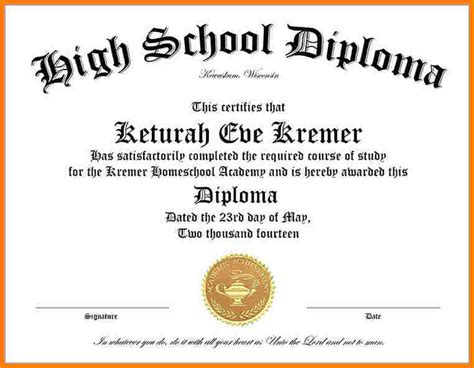 Free School Certificate Templates For Word 15 high school diploma templates free printables
