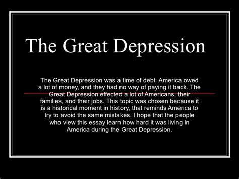 great depression thesis statement the great depression power point
