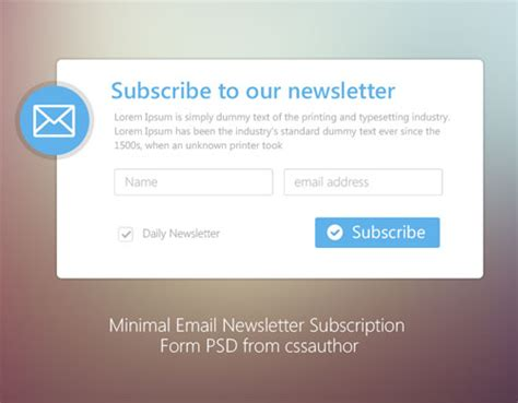newsletter signup form template 20 free newsletter subscription form templates psd