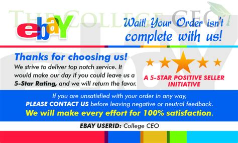 Ebay Thank You Card Template Ebay Seller Thank You Feedback Cards Template Free Download The College Ceo