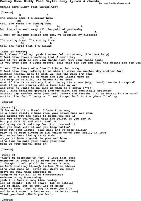 song lyrics for coming home diddy feat skylar grey