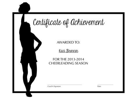 cheerleading certificate templates free cheerleading certificate of achievement cheer