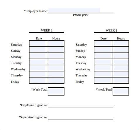 biweekly timesheet horizontal orientation work hours entered