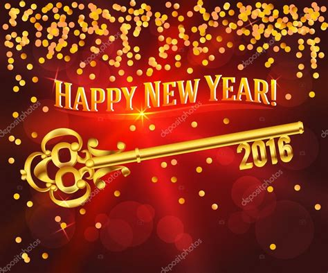 k new year 2016 happy new year 2016 gold key card congratulations stock