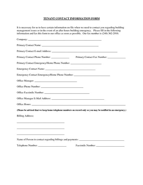 tenant information sheet template best photos of tenant information update form tenant