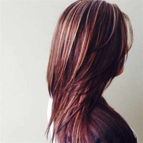 pictuted of red highlights on dark hair with spiky cut dark red brown hair with blonde highlights hairs picture