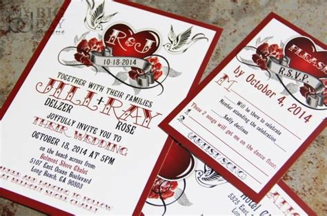 Steunk Invitation Template Rockabilly Wedding Invitation Set With Sparrow Lovebirds And Roses Steunk Heart Wedding