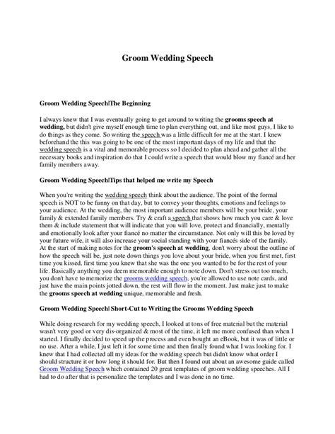 Groom wedding speech.