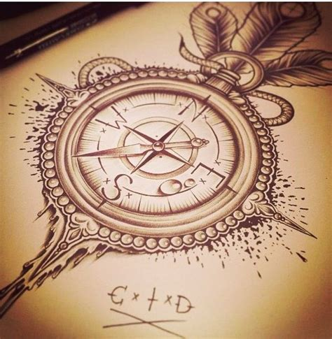 vintage design meaning compass tattoo but without the feathers tattoos