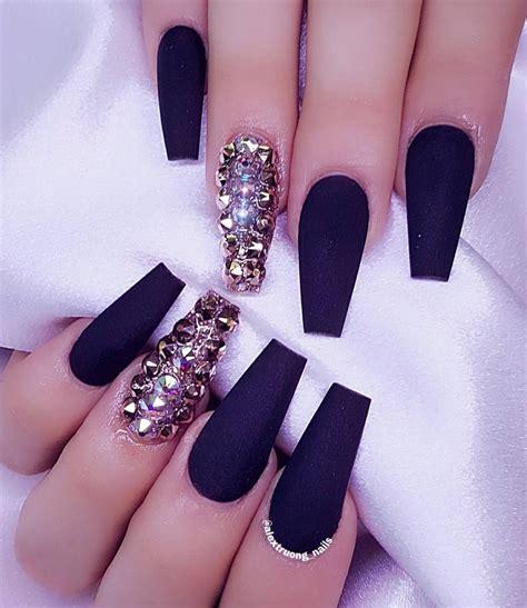 black matte nails  rhinestones