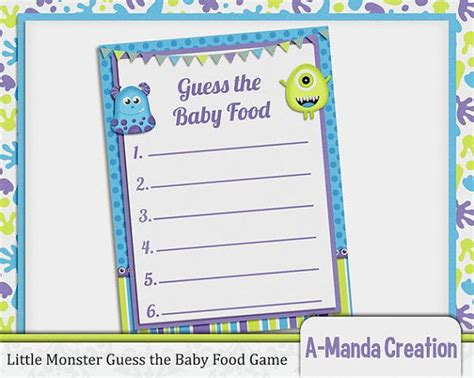 baby food guessing template best photos of baby shower guessing free printable