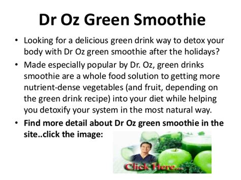 Dr Oz Green Smoothie Detox by Dr Oz Green Smoothie