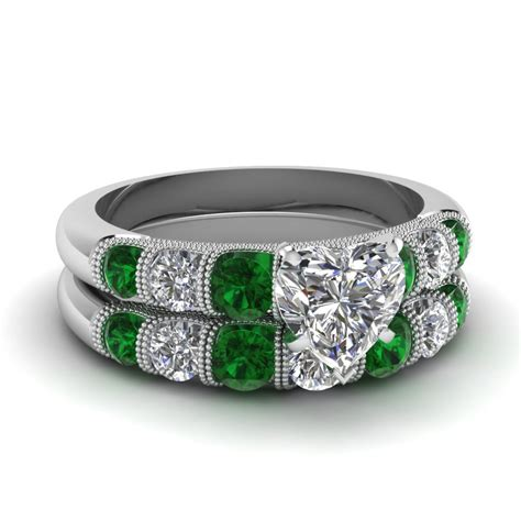 wedding ring sets emerald buy emerald wedding ring sets online fascinating diamonds