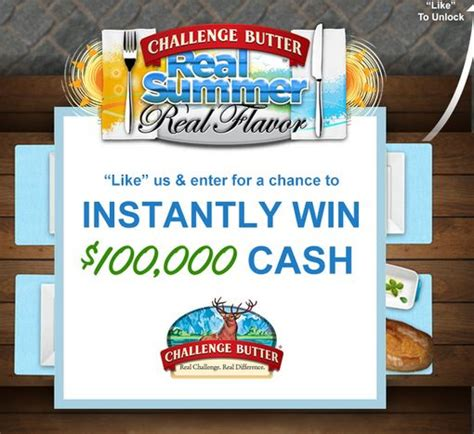 Challenge Butter Sweepstakes - challenge butter win 100 000 plus instant win game