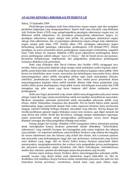 Analisis Kinerja 55782586 analisis kinerja birokrasi pemerintah