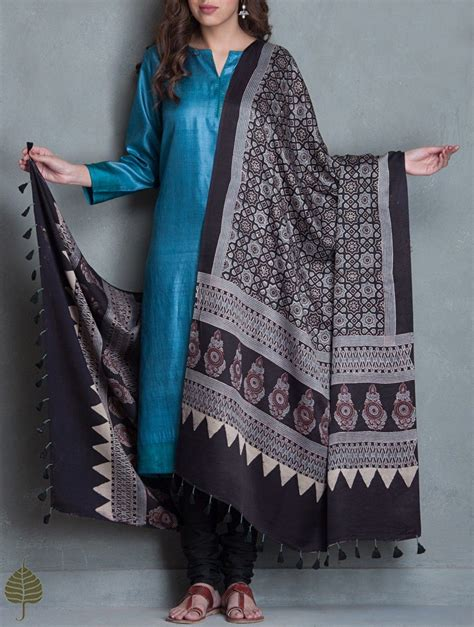 Simple Black Dress With Printed Dupatta