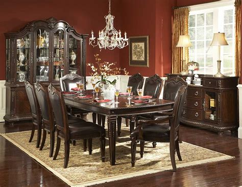 rich brown finish classic dining room table w optional items