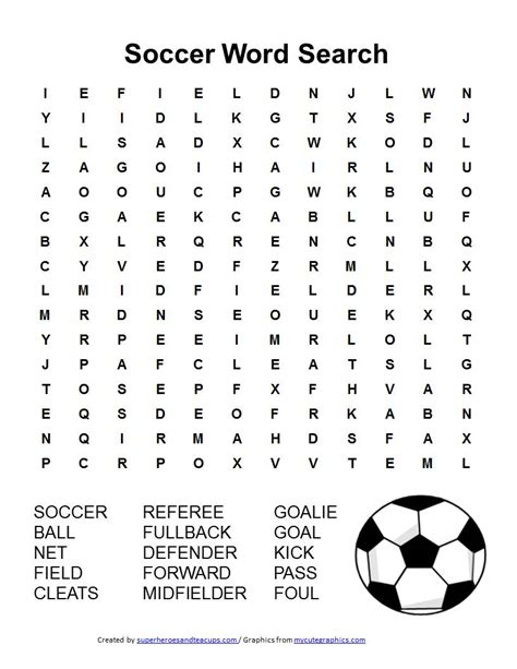 Search Name Soccer Word Search Free Printable