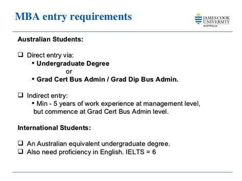 Mba In Australia Requirements by Master Business Administration Cook 2011