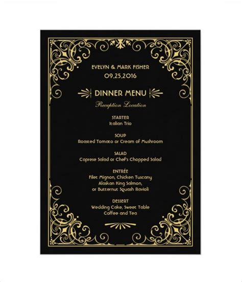 25 Wedding Menu Templates Free Sle Exle Format Download Free Premium Templates Black And Gold Menu Template