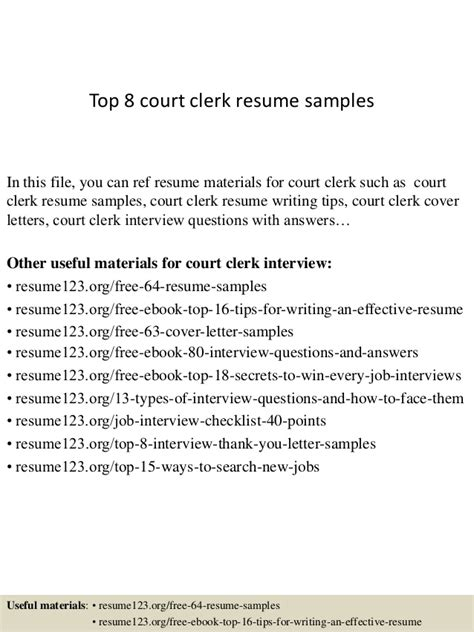 cover letter for court clerk top 8 court clerk resume sles