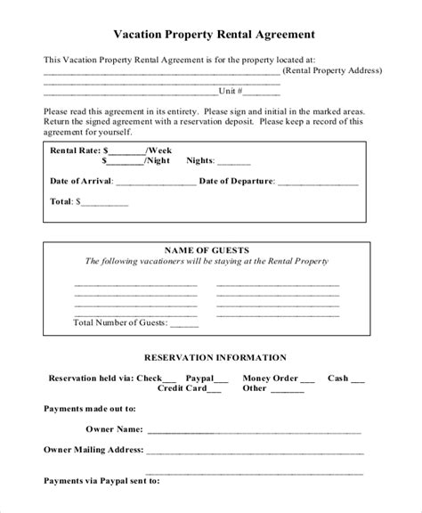Vacation Rental Agreement 8 Free Word Pdf Documents Download Free Premium Templates Condo Rental Agreement Template