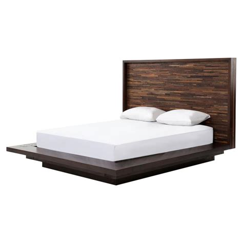 queen wood platform bed larson modern classic variegated wood headboard platform