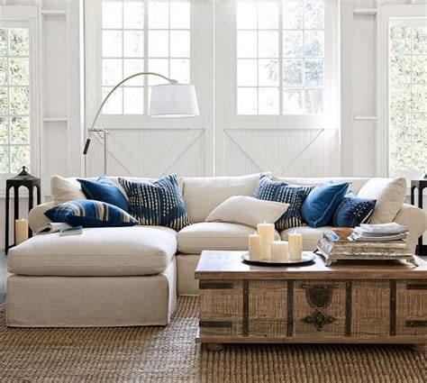 pb air slipcovered 4 sofa with chaise sectional