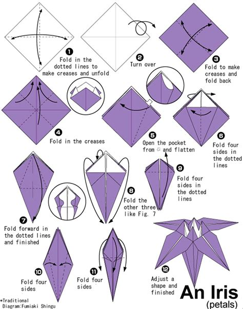 Origami Directions - with origami florissa flowers roses fruits and