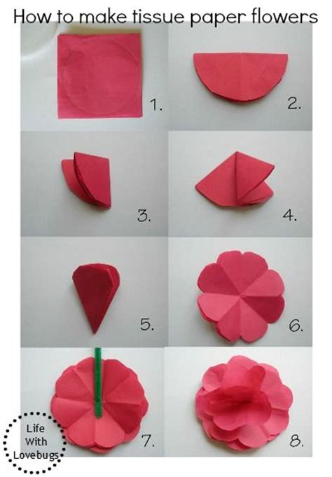 Easy Steps To Make A Paper Flower - 25 best ideas about tissue paper flowers on