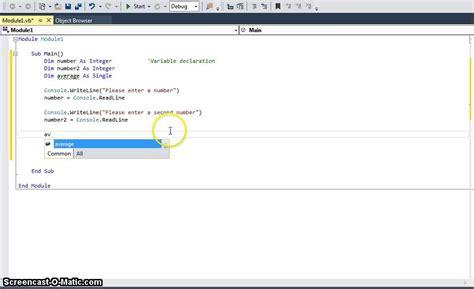vb 1 console programming variable declaration input