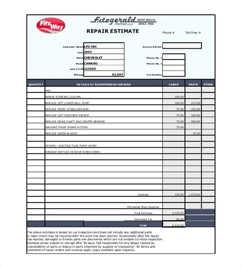 auto estimate template repair estimate template 18 free word excel pdf