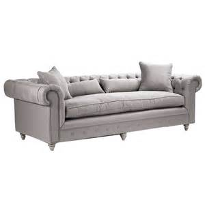 french tufted gray sofa belle maison
