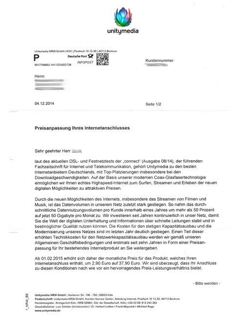 Anschreiben Preiserhohung Unitymedia Kabelbw Erh 246 Ht Die Preise F 252 R Tarife