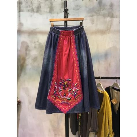 Embroidery Denim A Line Skirt color matching ethnic embroidery denim skirt patchwork a