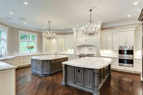 kitchen with 2 islands cost of marble countertops designing idea