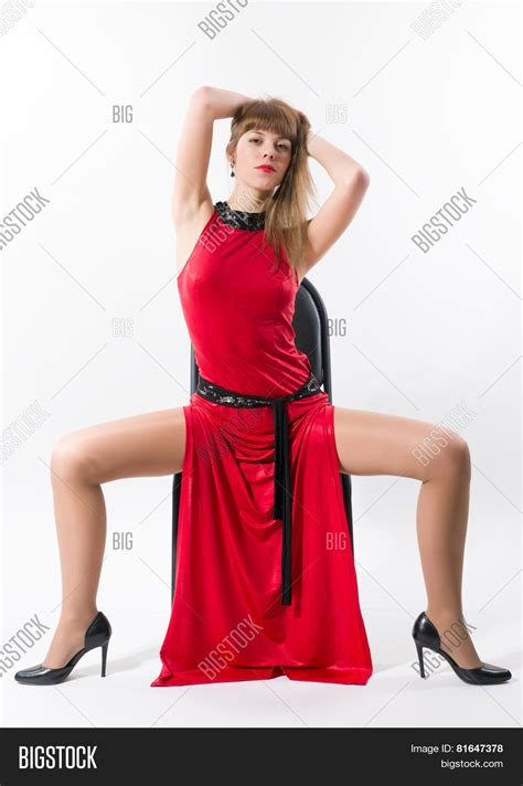 Open Leg by In Dress Sitting With Wide Open Legs
