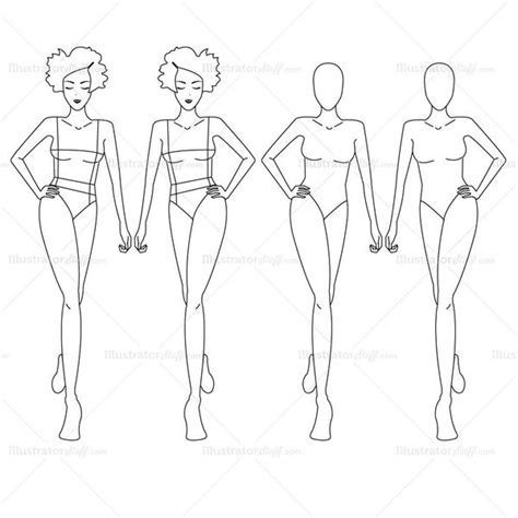fashion design doll template female fashion croquis template illustrator stuff