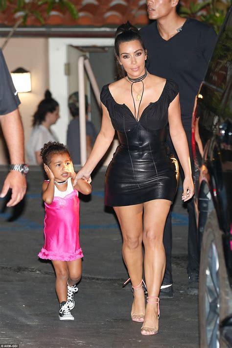 kim kardashian corset dress for north kim kardashian looks slimmer than ever in plunging leather