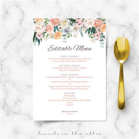 Secret Garden Vintage Flowers Menu Template Hands In The Attic Wedding Menu Size Template