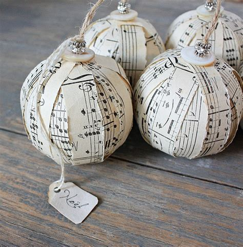 Rustic rag ball ornaments vintage sheet music ornies set of three