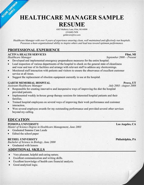 Resume Hospital Manager Resume Exles Manager Resume Manager Resume Cv Description